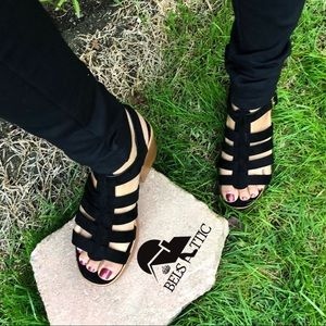 Shoes - Vegan Suede Caged Gladiator Chunky Wood Sandal